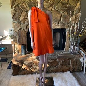 Victoria Beckham orange one shoulder dress
